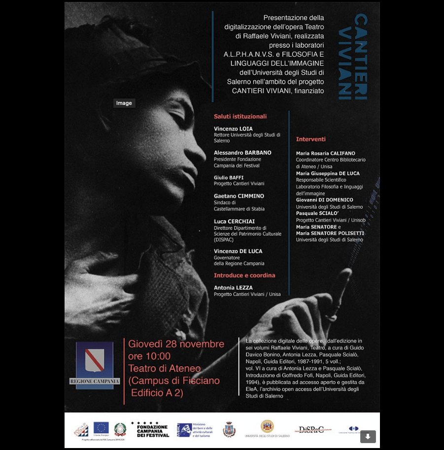 Presentazione della digitalizzazione dell''opera Teatro di Raffaele Viviani