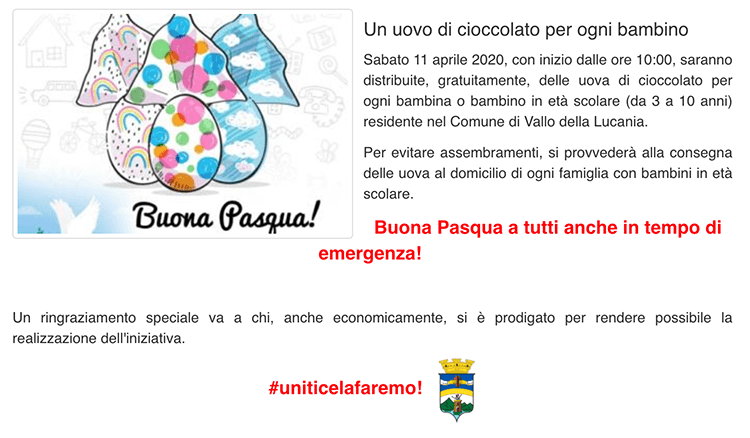 Iniziativa distribuzione uova di Pasqua gratuite a Vallo della Lucania